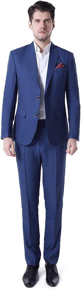 Notch Lapel Men Suit Slim Fit Casual 2 PCs(Jacket+Pants) Blazer Wedding Grooms Tuxedo