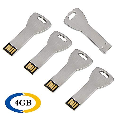 USB Sticks 4 GB 5 Stück Uflatek USB-Flash-Laufwerk Wasserdicht 4GB Schlüsselform Neuheit Flash Drive Wasserdicht USB 2.0 Memory Stick Silber Speicher Stick Datenspeicher Geschenk