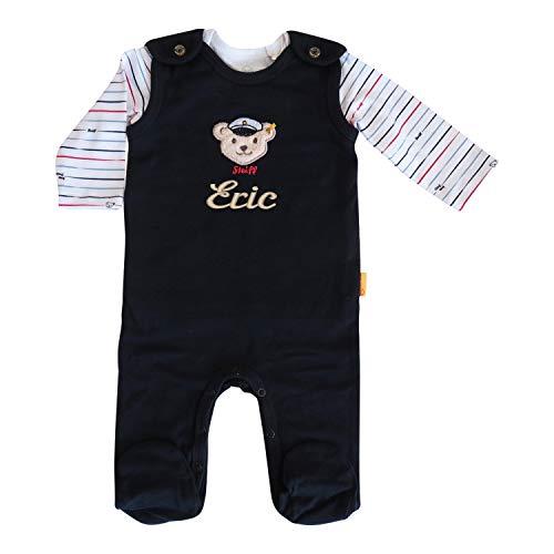 Steiff Set Strampler mit Wunsch-Name bestickt und Langarm-T-Shirt Größe 62 Kapitänsbär navy dunkelblau personalisierter Spieler mit Teddy-Kapitän