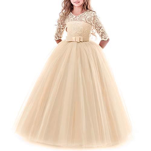 IBTOM CASTLE Brautjungfer Kleider für Mädchen Blumenmädchen Hochzeitskleid Lange Ärmel Schmetterling Festzug Spitze Champagner 11-12 Jahre