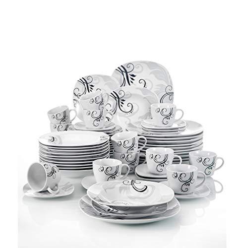 NXYJD Calcomanías Negras de 60 Piezas Cena de cerámica de Porcelana Cena combinada con Placa de Postre Placa de Sopa Placa de Cena Plateado platillo