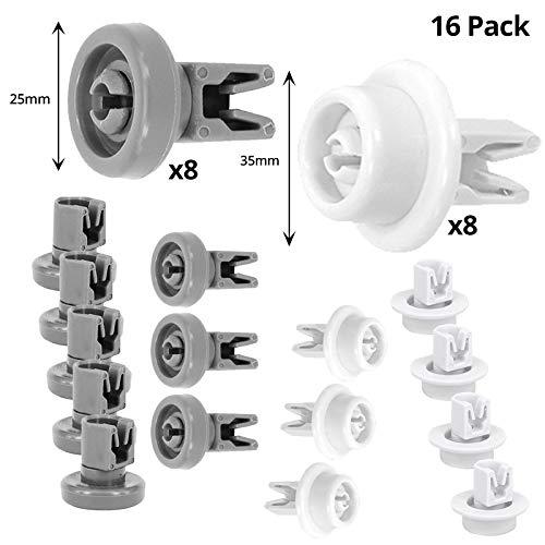 Spares2go - Ruedas para cesta de lavavajillas Indesit (35 mm + 25 mm, 16-8 medianos + 8 pequeños)