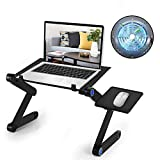 Adjustable Laptop Stand with USB Cooling Fan Executive Desk Aluminum Laptop Desk Multiple Angle&Height Laptop Bed Tray Ergonomic Desk Working in Bed Desk Couch Sofa Portable Laptop Desk