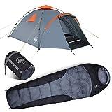 Lumaland Outdoor Pop Up Zelt Familienzelt + Schlafsack 230x80 cm - Camping Set - Wasserdichtes Zelt - Warmer Schlafsack, kompaktes Packmaß - Grau