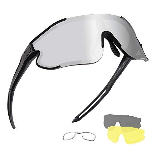 DUDUKING Gafas Ciclismo Polarizadas, Gafas de Conducción de Medio Cuadro con 3 Lentes Intercambiables, Gafas de Protección UV para Montar Se Adapta al Correr Ciclismo,Deportes al Aire Libre