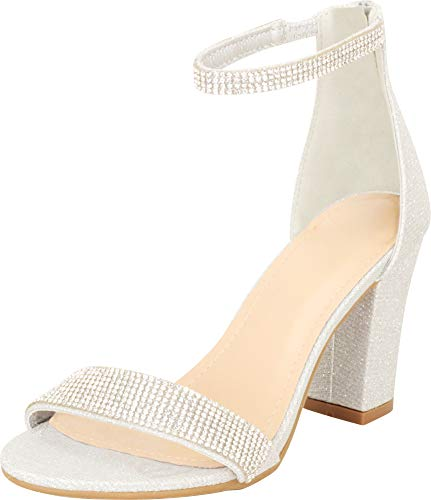 Cambridge Select Women's Open Toe Single Band Ankle Strap Crystal Rhinestone Chunky Block Heel Sandal,7 B(M) US,Silver Glitter