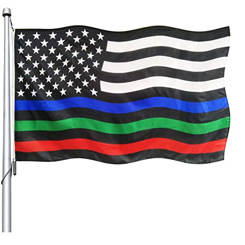 Thin Red Blue Green Line American Flag- 3x5 ft Durable Polyester Police Military and Fire FirefighterThin Line USA Flags Banner UV Fade Resistant