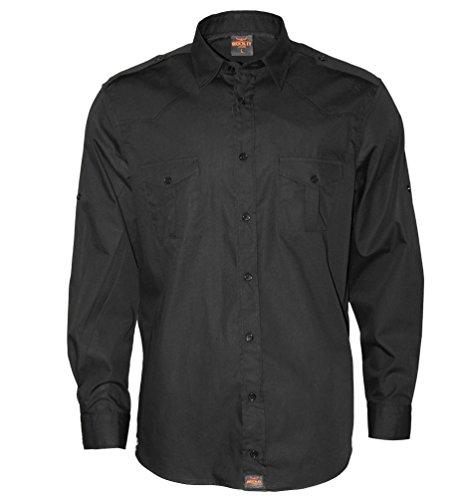 ROCK-IT Apparel® Herren Hemd Langarm US-Hemd Military Look Worker Hemd Worker Shirt Freizeit Made in Europa Größen S-5XL Farbe schwarz Medium