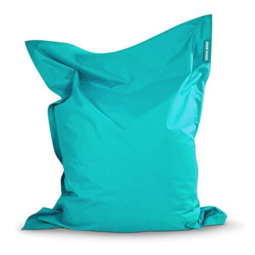 Green Bean © Square XXL Riesensitzsack 140x180 cm - 380L - waschbar, ergonomisch, doppelt vernäht, extrem robust, Abnehmbarer Bezug - Indoor Outdoor Sitzsack für Kinder und Erwachsene - Türkis