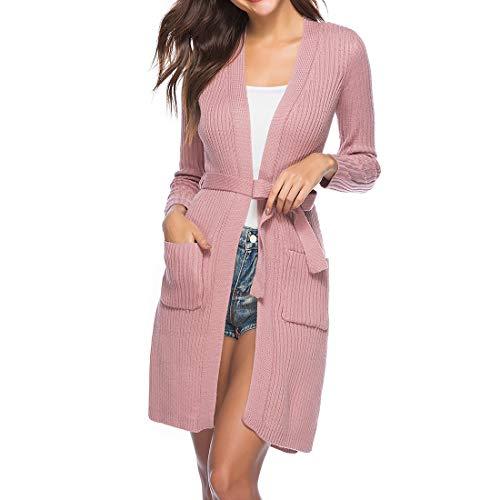 Maglione Donna Cardigan Donna Elegante Manica Lunga Moda Casual Sciolto Comodo Autunno Manica Lunga Elegante Chic Classico all-Match Inverno Donna Top Giacca Donna Pink_ XL