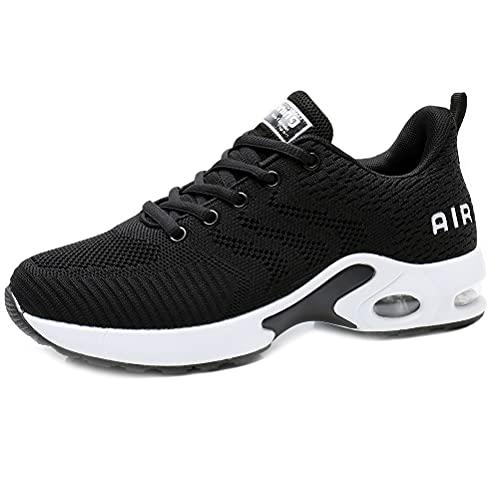 Dannto Zapatos Deporte Mujer Zapatillas Deportivas Correr Gimnasio Casual Zapatos para Caminar Mesh Running Transpirable Aumentar Más Altos Sneakers (Negro,39)