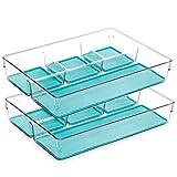 BINO Multi-Purpose 4 Section Plastic Drawer Organizer - 2 Pack, Aqua Blue - Plastic Storage Organizer for Home, Kitchen, Bath, Bedroom, and Office