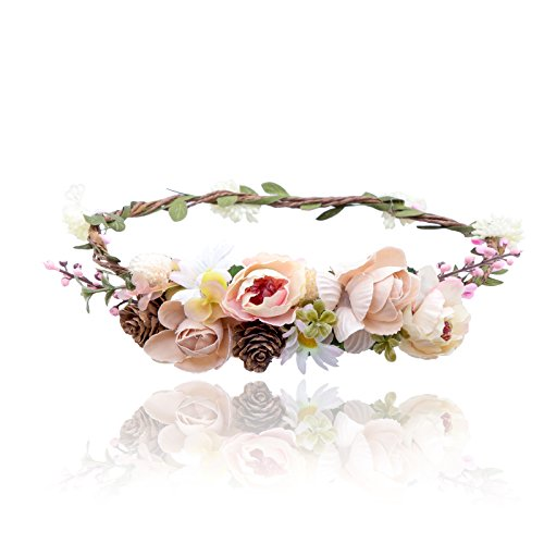 Price comparison product image AWAYTR Bohemia Flower Crown Headband - Exquisite Pinecone Leaf Berry Flower Headband Flower Halo Wreath women (Light khaki+Light pink)