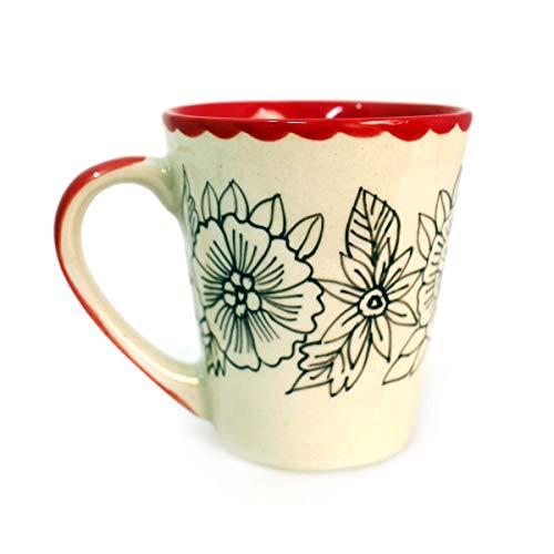 Gall&Zick Tasse Kaffeetasse Teetasse Geschirr Keramik Bemalt Bunt Blumen Muster Set/2