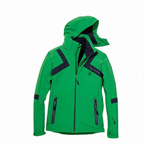 Shamp Softshell-Skijacke Winterjacke Schneejacke für Herren (Grün, M)