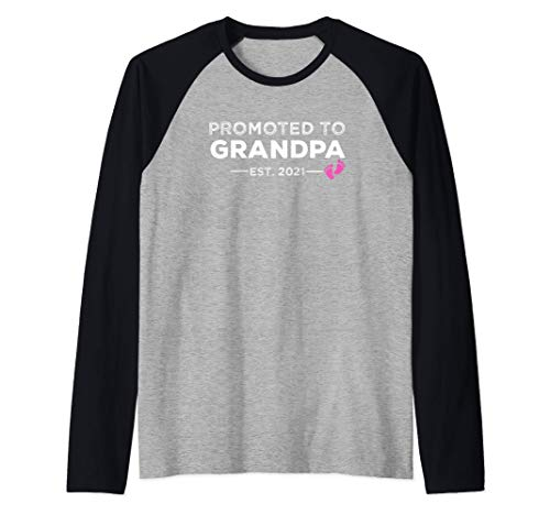 Promocionado a Grandpa Est 2021 - Nueva Bebé Abuelo Camiseta Manga Raglan