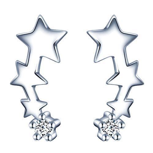 MicVivien Pendientes Pequeños de Plata de ley 925 Estrella con Circonita Cúbica para Mujer, Chicas, Niña