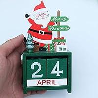 VOSAREA オフィスホームショップ(サンタ)のためのクリスマス木製カレンダー装飾的な立体装飾品のカウントダウンカレンダー