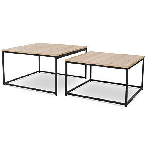 IDMarket - Lot de 2 Tables Basses gigognes Detroit 60/70 Design Industriel