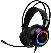 ABKONCORE Gaming Headset CH60-7.1 Surround Sound - USB Connector - Vibration Effect - RGB LED - Noise-Free Microphone Software Supported (Black)