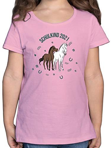 Einschulung und Schulanfang Geschenk - Schulkind 2021 Pferde - 128 (7/8 Jahre) - Rosa - Einschulung - F131K - Mädchen Kinder T-Shirt