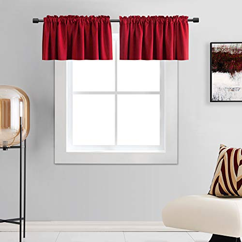 DONREN Red Christmas Valances for Windows - 2 PCS Room Darkening Window Curtain Valances with Rod Pocket (42 by 15 Inch,2 Panels)