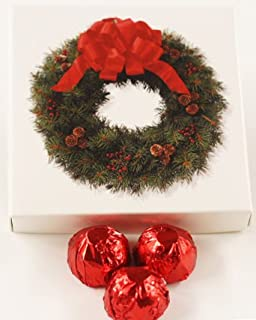 Scott's Cakes Milk Chocolate Strawberry Italian Butter Cream Candies with Red Foils in a 1 Pound Wreath Box