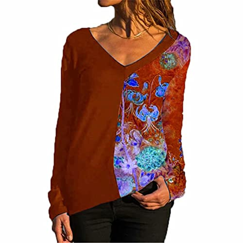ZFQQ Camiseta Estampada de Manga Larga con Cuello en V Multicolor para Mujer Otoño/Invierno