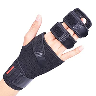 Trigger Finger Splint for Two or Three Finger Immobilizer, Finger Brace for Broken Joints, Sprains, Contractures, Arthritis, Tendonitis and Pain Relief (Right, L/XL)