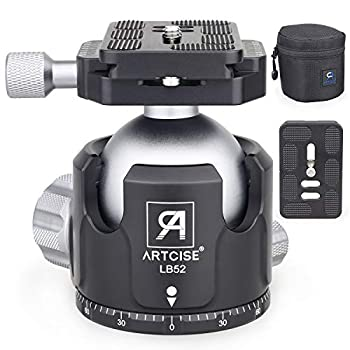 Low Profile Ball Head Tripod Mount Ball Head 52MM Diameter ARTCISE LB52 All Metal CNC Machining with Two 1/4  Quick Release Plates for Tripod Monopod DSLR Camcorder,Max Load 66lbs /30kg