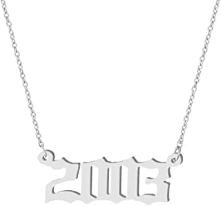 Birth Year Number Necklace for Women Girls,Silver Plated Old English Number Pendant Necklace,Best Personalized Birthday Gift