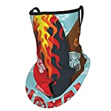 Surf Decor Collection Illustration Of Modern Aloha Surfboards With Hibiscus Tribal Mask And Flame Extreme Sport Design Multiface Bandana Neck Gaiter With Ear Loops, Uv Sun Protection Reusable Cloth Scarf Balaclava