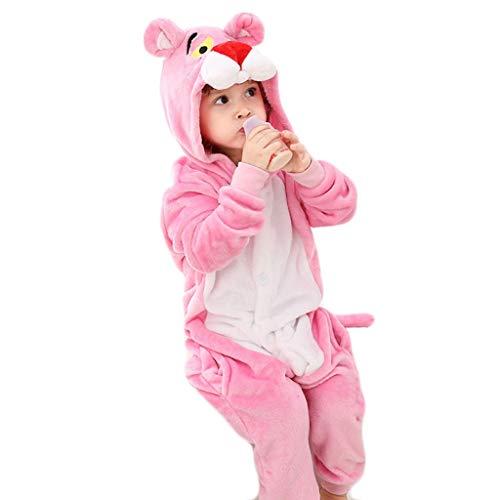 NYKK Disfraces para niños Traje de los niños Pijamas Animal de Halloween Cosplay de la Navidad Animal, los niños Unisex del Animal Invierno Pijamas, Leopardo Rosado Pijamas de Animales para niños