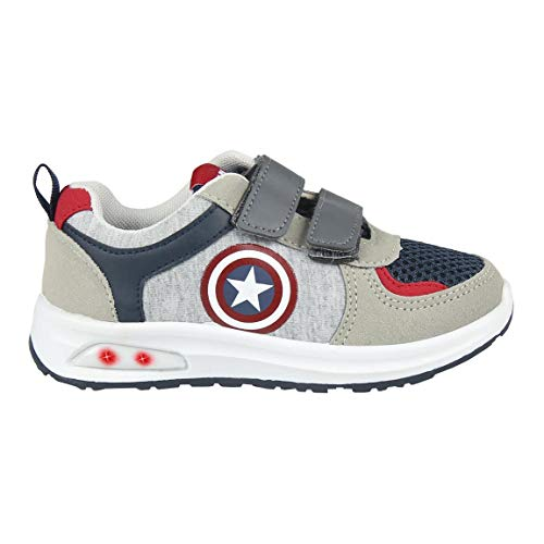 CERDÁ LIFES LITTLE MOMENTS Cerdá-Zapatilla con Luces Avengers de Color Gris, Niños, Rojo, 27 EU