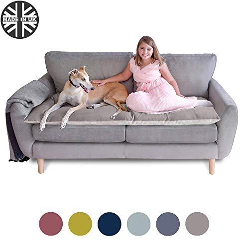 The Lounging Hound - Funda para sofá de Terciopelo Resistente al Agua para Muebles. Protege de Perros, Mascotas y niños, marrón Topo, Three-Seater