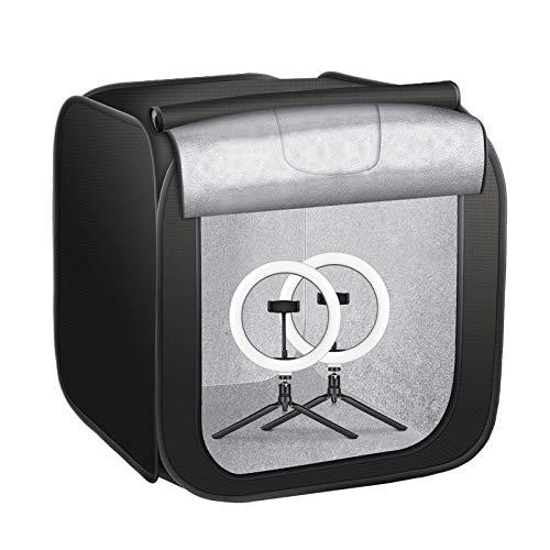 BFULL Tenda luminosa con illuminazione, set per studio fotografico, 70 cm, scatola per foto portatile, 2 x 10 LED con luminosità regolabile, 6 colori sfondi per fotografia