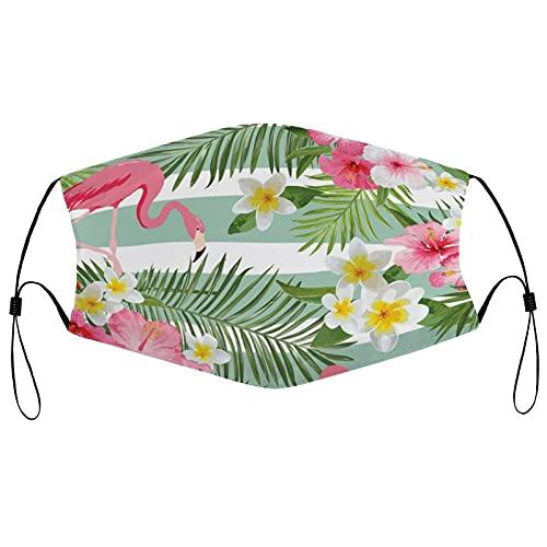 Tela Face Ma_sks, reutilizable y transpirable cara co-ver con 2 filtros pasamontañas ajustable protector bucal para hombres y mujeres, flamenco tropical