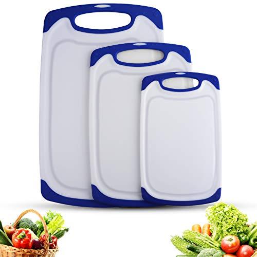 Smyidel Juego de Tablas de Cortar,Tablas de Cocina para Cortar, Tabla de Cortar de Plástico, sin BPA, con Ranuras para zumos, Apta para Lavavajillas(Juego de 3 Unidades) (Azul)