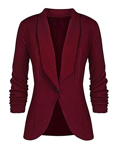 Dames Elegant 3 4 gestreepte mouwen Sakko Blazer Modernas effen slim fit een knop getailleerd bedrijf kantoor jas korte mantel pakken Bolero