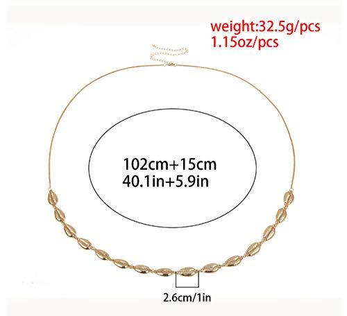 WEIYYY Damenmode Kreis Metall Kettengürtel Gold Silber Herz Fransen Ring Taille Kette Kleidung Gürtel Lady Hip Neu, Gold 239