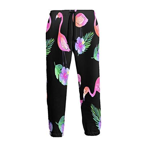 Wearibear Jogginghose für Herren, mit Flamingo- und Blumen-Motiv, atmungsaktiv, leicht, Schwarz Gr. 41-44.5, Schwarz