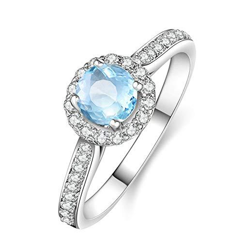 AueDsa Anillo de Plata 925 Mujer,Anillos Plata Piedra Azul Redondo 5X5MM Topacio Azul Blanco Anillos Mujer de Compromiso Talla 16