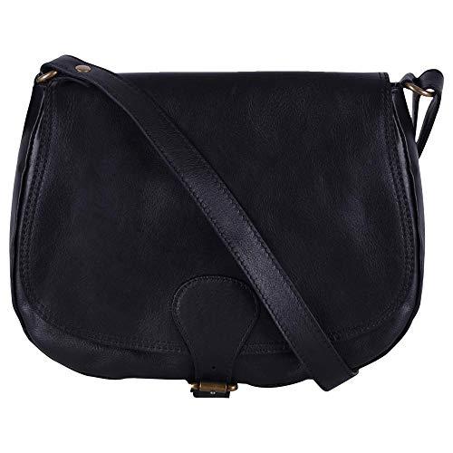 OH MY BAG - Sac pour Femme - Porté Epaule - modèle VINTAGE - En cuir véritable - Noir