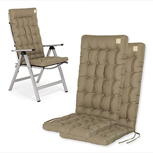 HAVE A SEAT Luxury   Gartenstuhlauflagen - Bequeme Hochlehner Polster Auflage, waschbar bei 95°C, Trockner geeignet, Sitzauflage für Gartenstuhl (2er Set - 120x48x8 cm, Goldbraun)