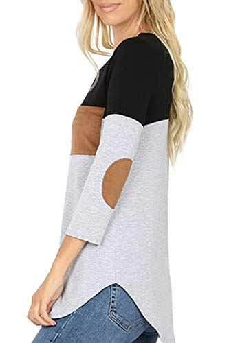 LE3NO Womens Round Neck Color Block Long Sleeve Shirt Top with Suede Elbow Patches, BLACK, X-Large