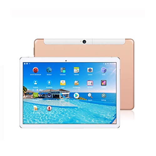 Tablet 10 Inch Phone,10 Core Tablets PC,Android 8.0,Deca Core,1920x1200 HD IPS,6GB RAM,64GB ROM,3G 4G LTE Double SIM WiFi GPS-Gold