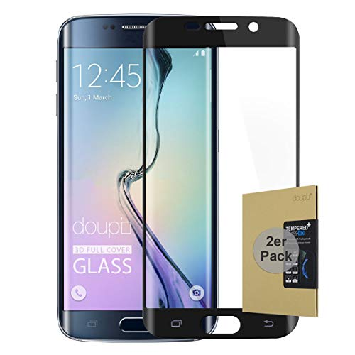 doupi 2X FullCover Protector de Pantalla Compatible con Samsung Galaxy S6 Edge Plus, Cobertura Completa 3D 9H HD Duro Vidrio Templado, 2 Piezas, Negro