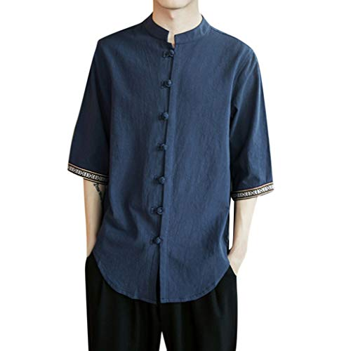 TAMALLU Herren T-Shirt Frühling Sommer Chinesischer Wind Freizeit Flachs Tee Baumwoll Tops(Marine,M)