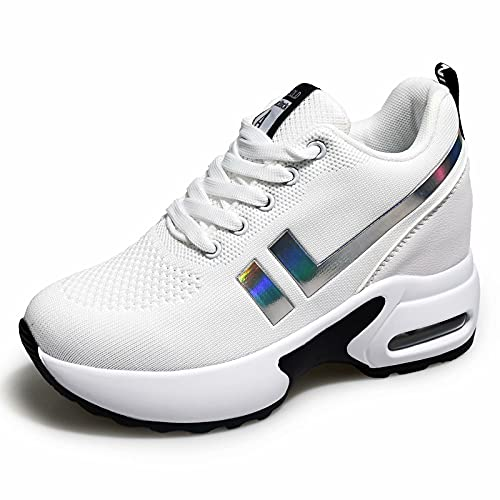 AONEGOLD Zapatillas de Deporte Transpirables Mujer Zapatillas de Cuña para Alta Talón Plataforma 8.5 cm Wedge Sneakers 1298 Blanco 38 EU