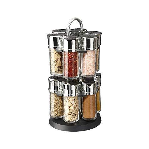 Présentoir Carroussel à épices et herbes aromatiques sur support rotatif et 12 pots en verre avec épices - Pratique & Design